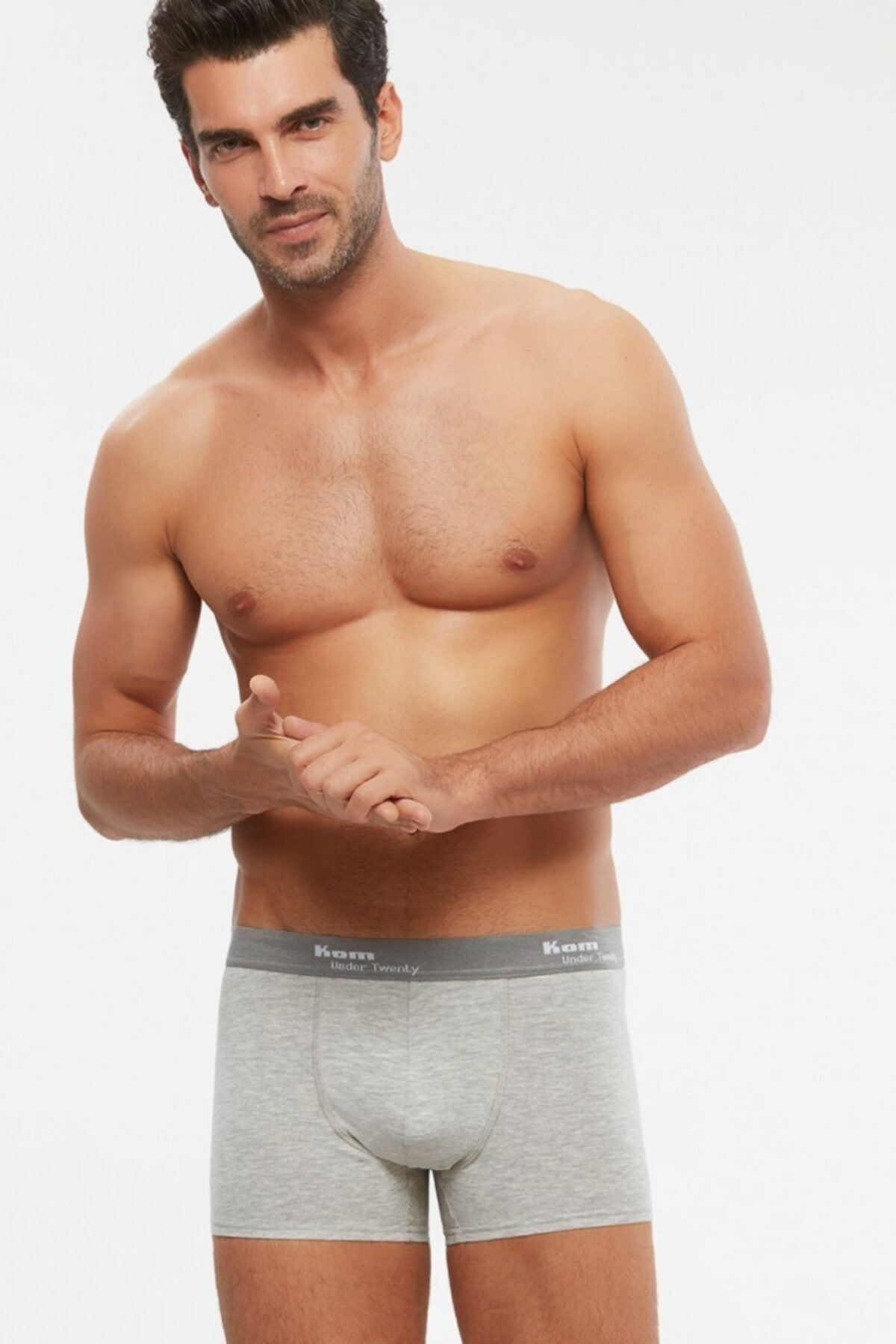 KOM TIGHT 2'Lİ %94 COTTON %6 ELASTAN ERKEK BOXER GRİ